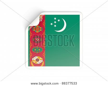 Square Sticker With Flag Of Turkmenistan