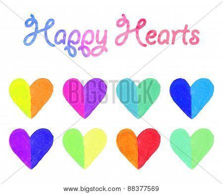 Watercolor hearts set.