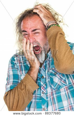 Tired Man Scratching Head