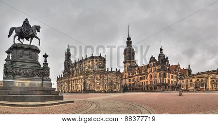 Dramatic view to Dresden Old Town, Germany
