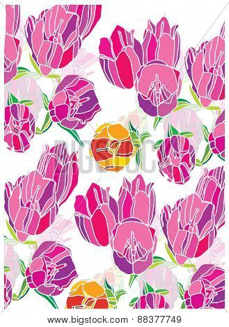 background with delicate pink flowers drooping tulips