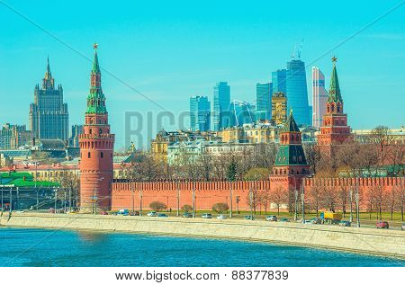 Morning view of the Moscow city center,