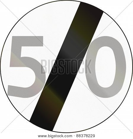 End Of Speed Limit 50 In Poland