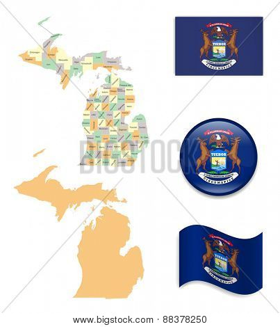 High Detailed Michigan Map and Flag Icons