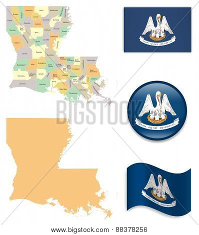 High Detailed Louisiana Map and Flag Icons