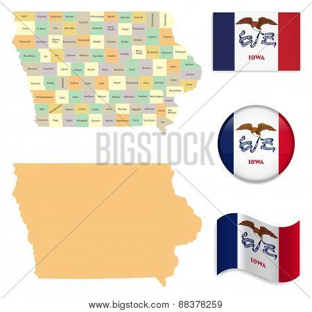 High Detailed Iowa  Map and Flag Icons