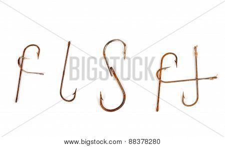 Word Fish Composed Of Old Rusty Fish Hooks