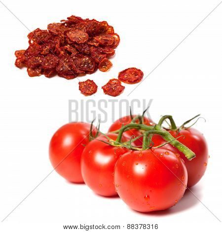 Ripe Tomato On Bunch And Dried Slices Of Tomato