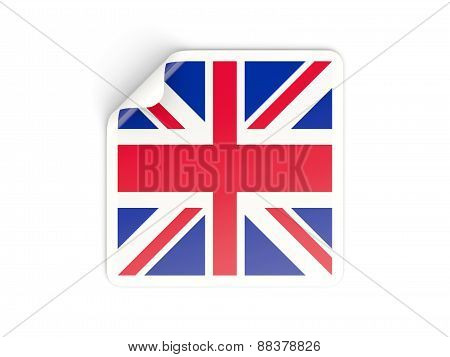 Square Sticker With Flag Of United Kingdom