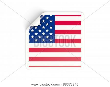 Square Sticker With Flag Of United States Of America