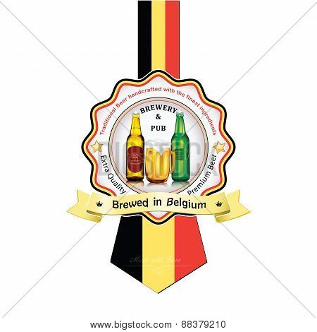 Brewed in Belgium - Beer sticker advertising