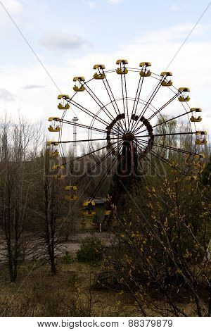 Ferris Wheel In Pripyat Ghost Town, Chernobyl Nuclear Power Plant Zone Of Alienation, Ukraine