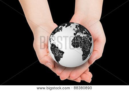 Hands presenting against black and white earth