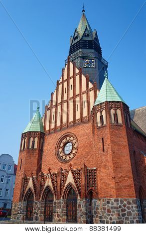 The facade of the neo-Gothic church