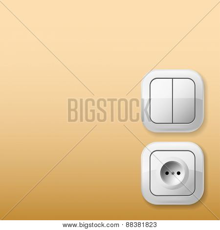 White Electric Switch and Socket on the wall. Illustration.