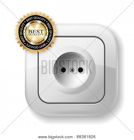 White Electric Socket. Best icon. Illustration.