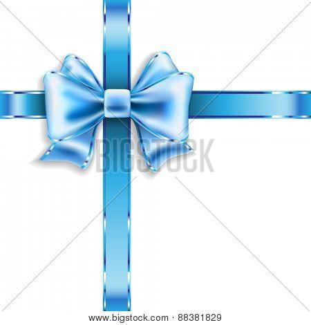 Silk blue bow isolated on white. illustration.