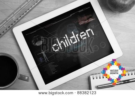 The word children and autism awareness month against medical biology interface in black