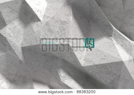 Search engine against grey angular background