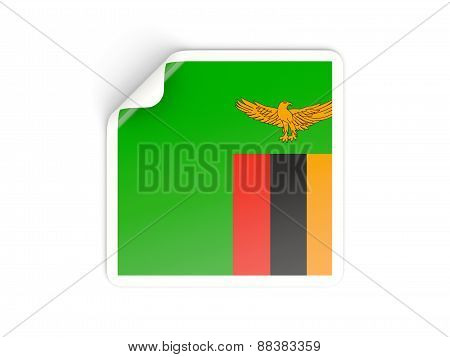 Square Sticker With Flag Of Zambia