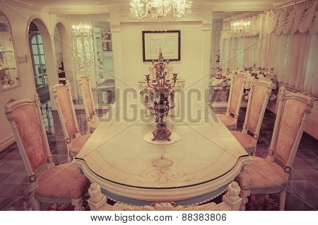 Head Of The Table In The Grand Dinning Room In Old Retro Style