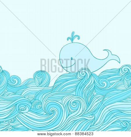 Blue cute whale in the sea waves. Hand-drawn cartoon style illustration.