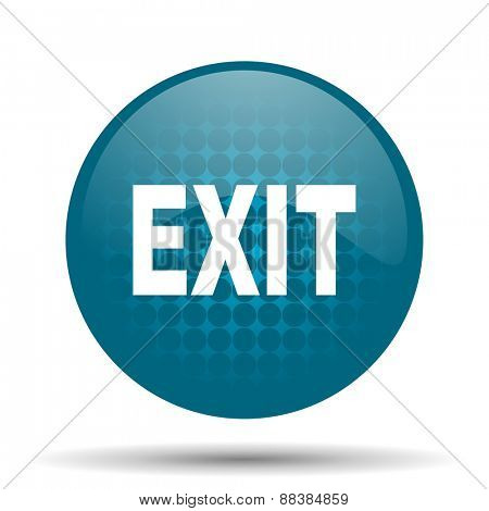exit blue glossy web icon