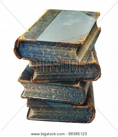 stack of old books, isolated