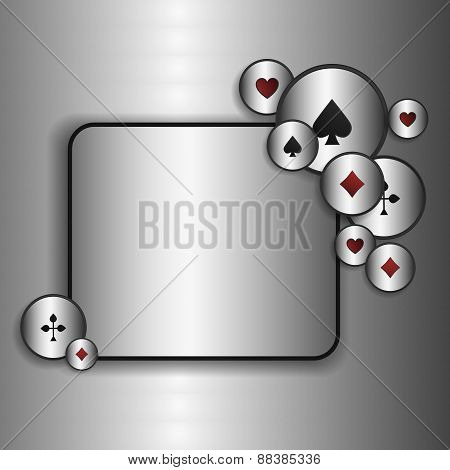 Casino game poster. A background for your Poker Tour. Write  message on the copy space.