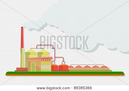 Industrial factory buildings set in flat design style