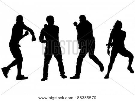 Dancer people in rap style on white background