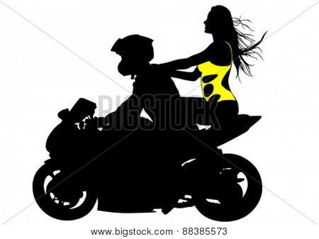 Silhouettes of motorcycle and beauty women