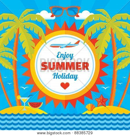 Enjoy summer holiday - vector concept banner in flat style. Summer holiday vector background.