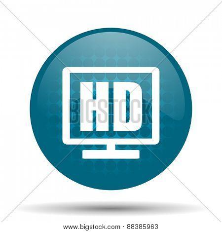 hd display blue glossy web icon