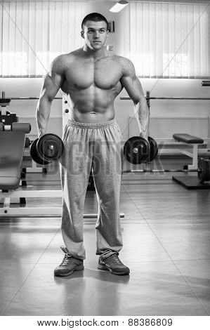 Handsome muscular man working out with dumbbells in gym