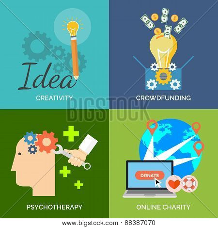 Set Of Flat Design Concept Icons For Business. Creativity, Crowdfunding, Psychotherapy And Online Ch