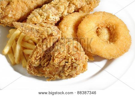 Fried Food On White Plate