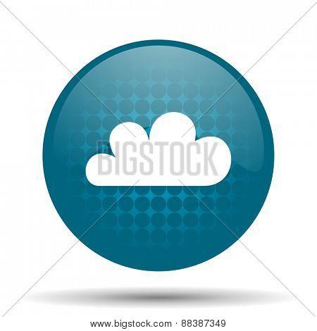 cloud blue glossy web icon