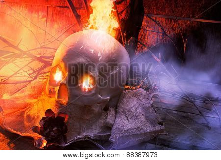 Skull with cloth and fire angle view.