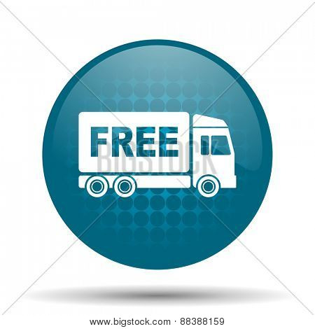 free delivery blue glossy web icon