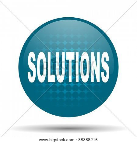 solutions blue glossy web icon