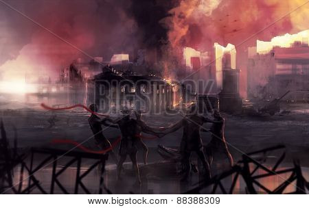 Stalingrad war battle statue art.