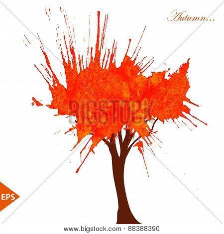 Tree. Watercolor decorative spot with salt. Vector format