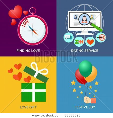 Set Of Flat Design Concept Icons. Finding Love, Dating Service, Love Gift And Festive Joy.