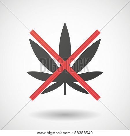 Not Allowed Icon With A Marijuana Leaf