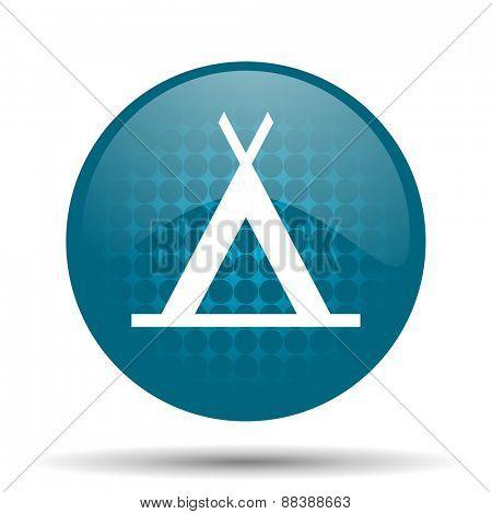camp blue glossy web icon