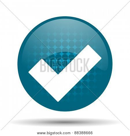 accept blue glossy web icon