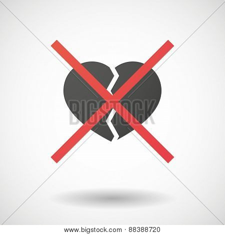 Not Allowed Icon With A Broken Heart