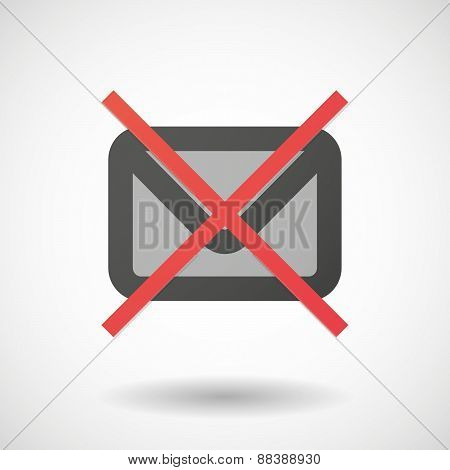 Not Allowed Icon With An Envelope