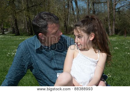 Father And His Daughter , Together At The Park